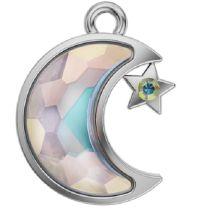 Swarovski Crystal Becharmed 190108 Lizzy Luna Charm 14 x 11 mm- Crystal AB-12 Pcs.