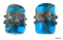 Wedding Cake  Tube 16x12mm Beads - Turquoise Blue