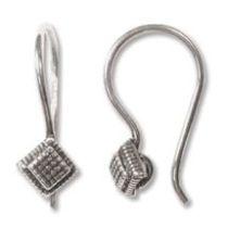 Sterling Silver Earwire Diamond Shape 18mm