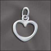 Sterling Silver Charm W/OPEN RING- Medium open Heart