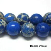 Impression Jasper Round 8.0mm- Blue - 40 Cms. Long Strand