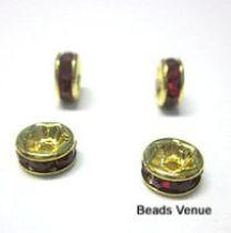 Rondelles Gold base -6mm-Lt. Siam