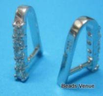 Sterling Silver Pendant Bail W/Cz Stones 15 x 7.5mm(width)