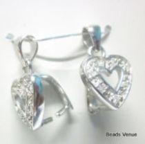 Sterling Silver Heart Pendant Bail W/Cz Stones 15 x 9.5mm