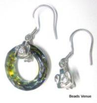 Sterling Silver Swan Earring Finding W/Cz stones- 28mm