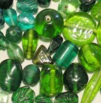 Mix Glass Beads Trans-Green