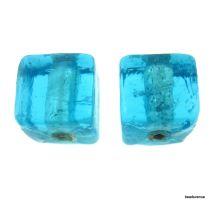 Silver Foil Cube Beads-10mm - Medium Blue
