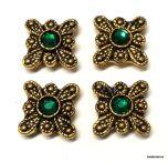 Goldtone Butterfly(2 holes) Metal Sliders (12x12mm)with Swarovski Stones- Emerald